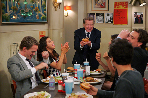 Neil Patrick Harris, Alyson Hannigan, Regis Philbin, Jason Segel, Josh Radnor, and Cobie Smulders in How I Met Your Mother (2005)
