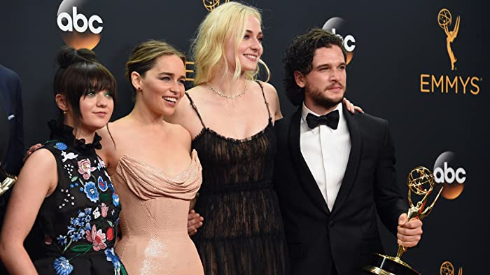 Kit Harington, Maisie Williams, Emilia Clarke, and Sophie Turner at an event for The 68th Primetime Emmy Awards (2016)