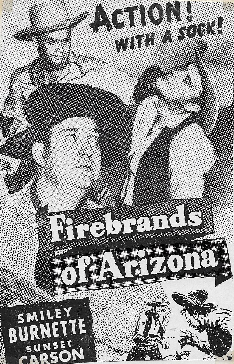 Smiley Burnette, Sunset Carson, and Robert J. Wilke in Firebrands of Arizona (1944)