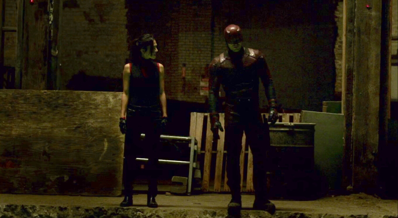 Charlie Cox and Elodie Yung in Daredevil (2015)