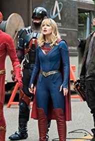 Dominic Purcell, Brandon Routh, Melissa Benoist, and Grant Gustin in Legends of Tomorrow (2016)