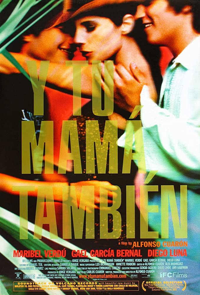 Gael García Bernal, Diego Luna, and Maribel Verdú in Y tu mamá también (2001)