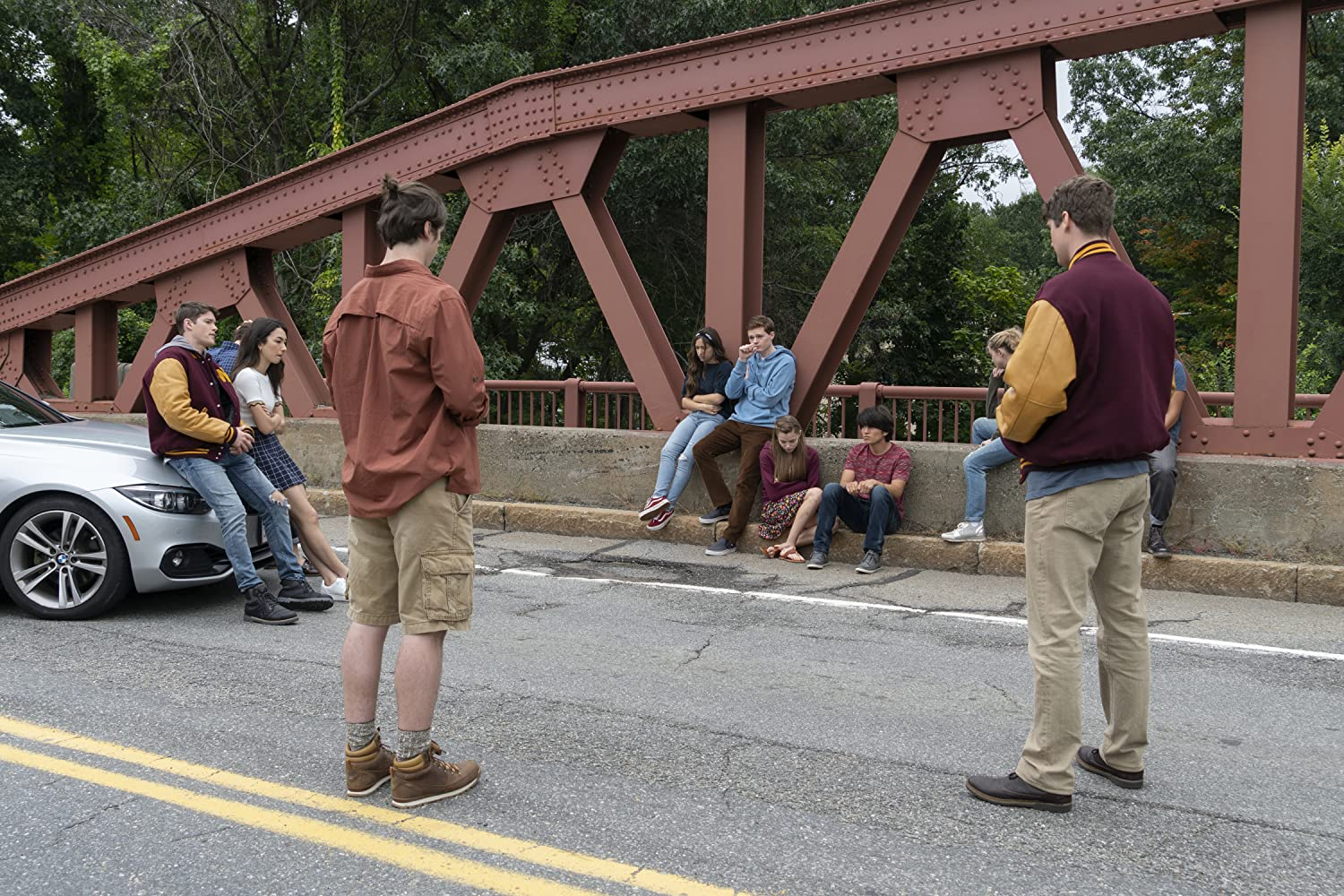 Jack Mulhern, Kathryn Newton, José Julián, Sean Berdy, Gideon Adlon, Alex MacNicoll, Natasha Liu Bordizzo, and Kristine Froseth in The Society (2019)
