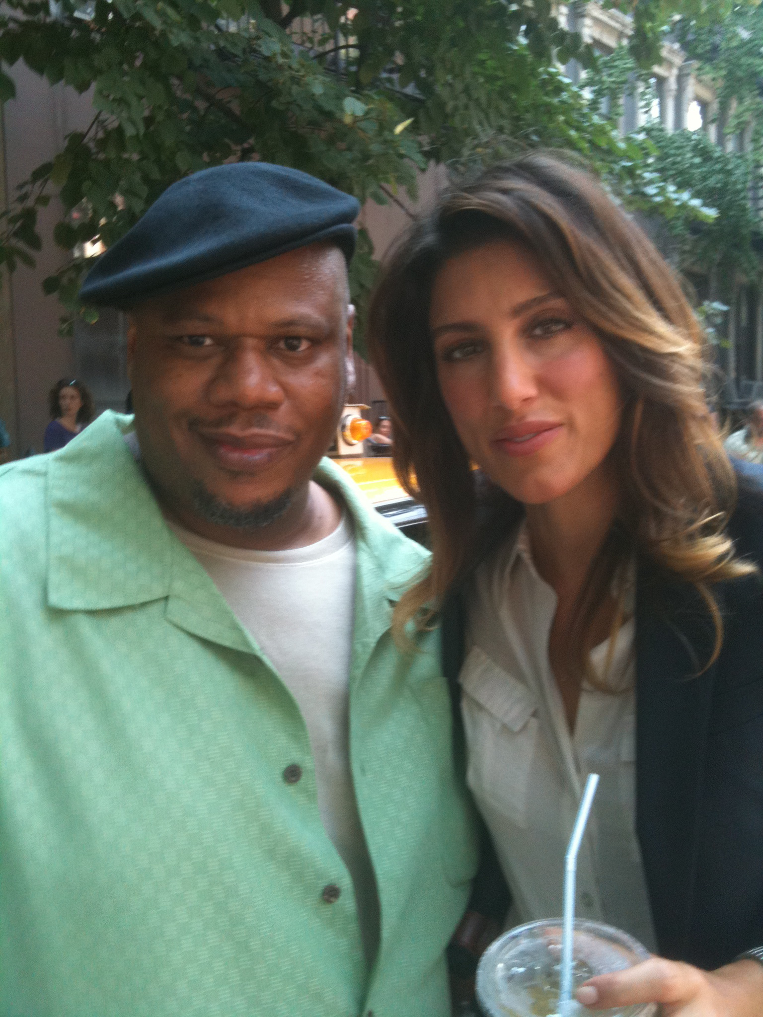 Still of Jennifer Esposito and Billy Griffith on the set of Blue Bloods.