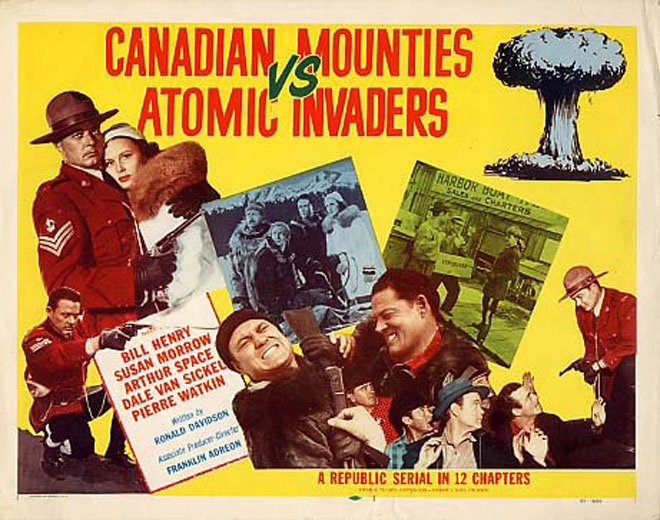 Mike Ragan, William Henry, and Susan Morrow in Canadian Mounties vs. Atomic Invaders (1953)