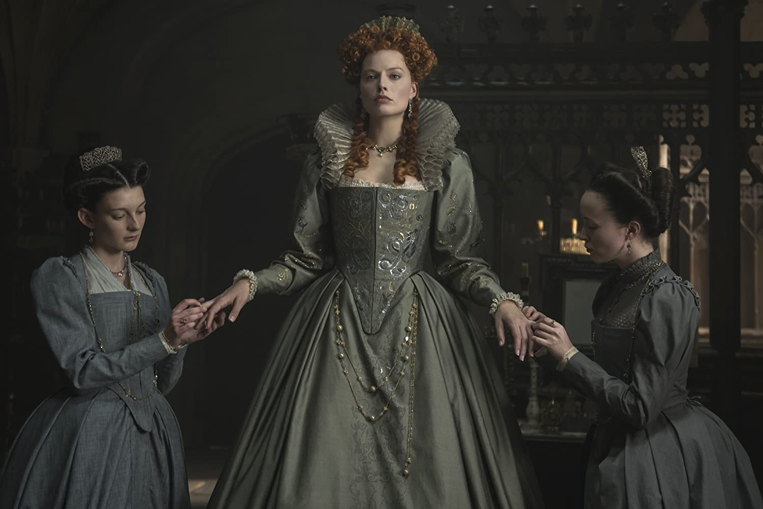Margot Robbie, Grace Molony, and Georgia Burnell in Mary Queen of Scots (2018)