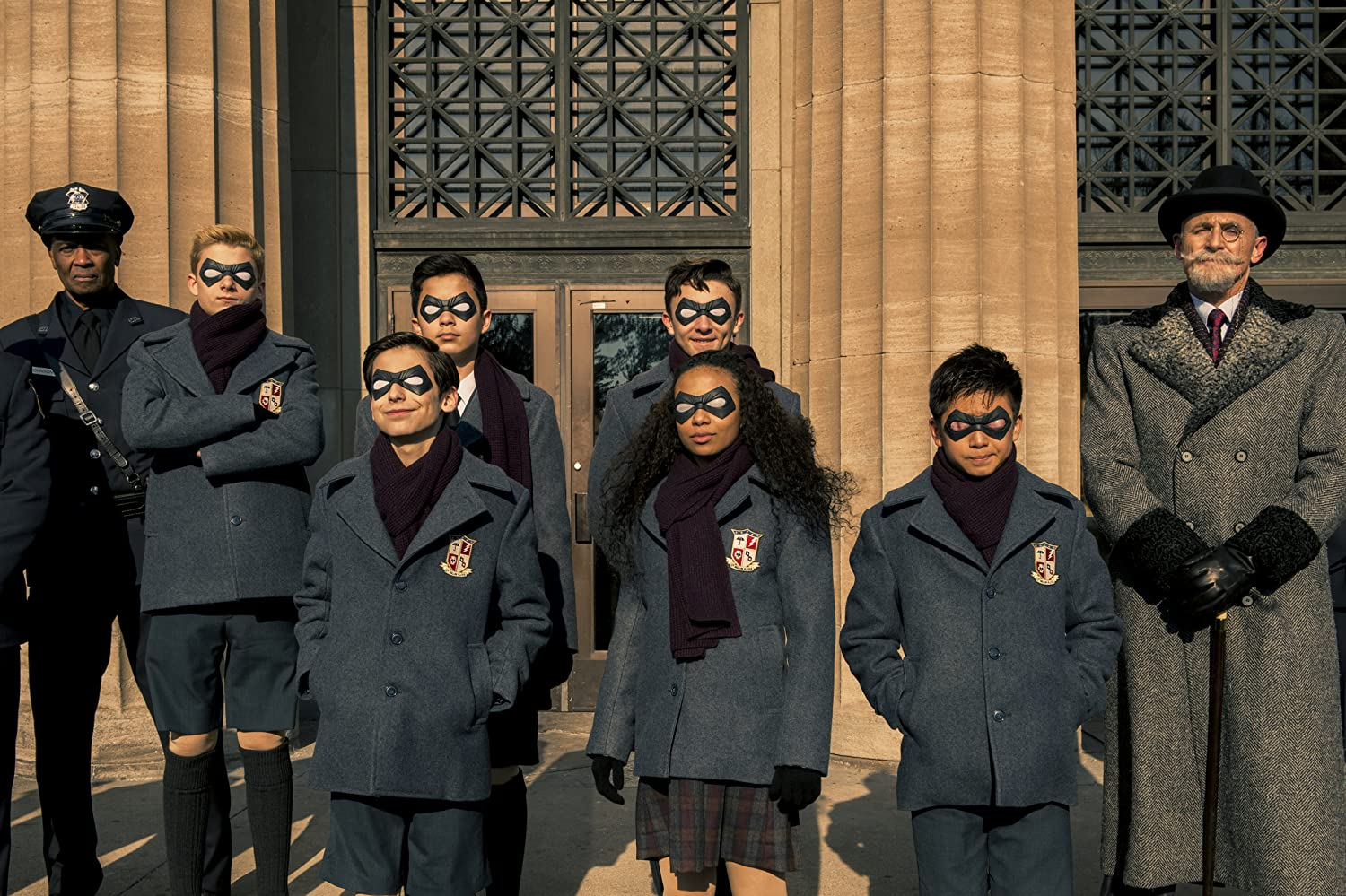 Colm Feore, Dante Albidone, Aidan Gallagher, Cameron Brodeur, Eden Cupid, Ethan Hwang, and Blake Talabis in The Umbrella Academy (2019)
