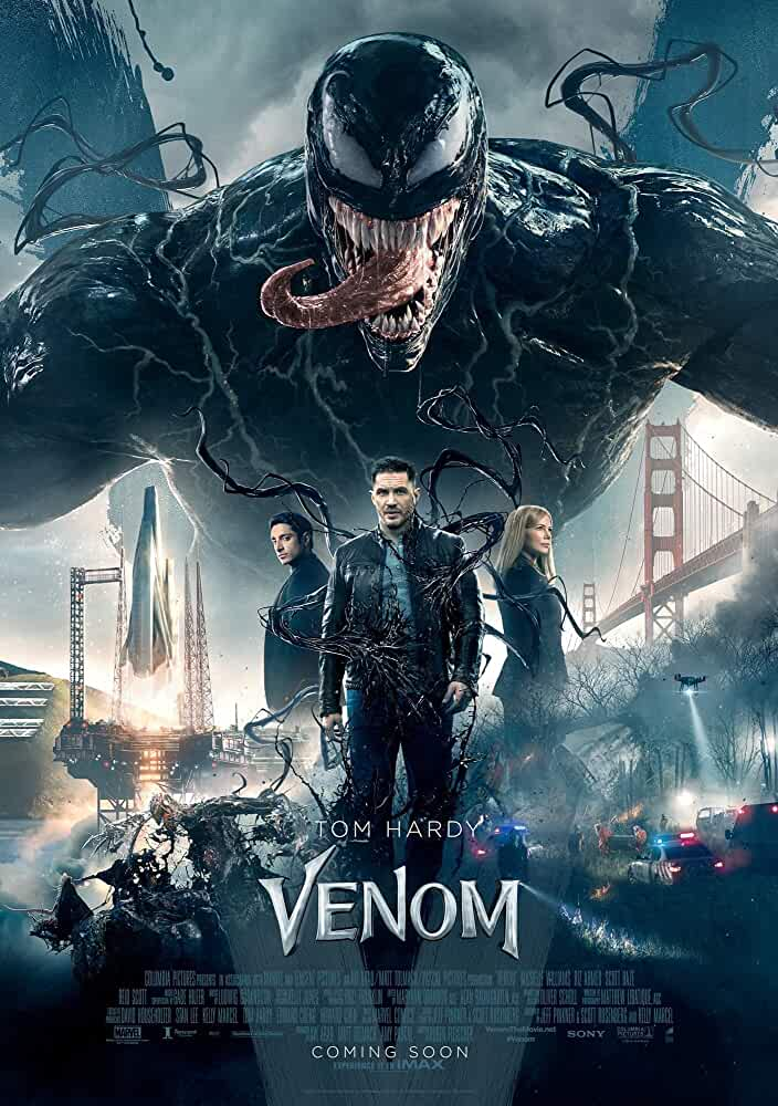 Tom Hardy, Michelle Williams, and Riz Ahmed in Venom (2018)