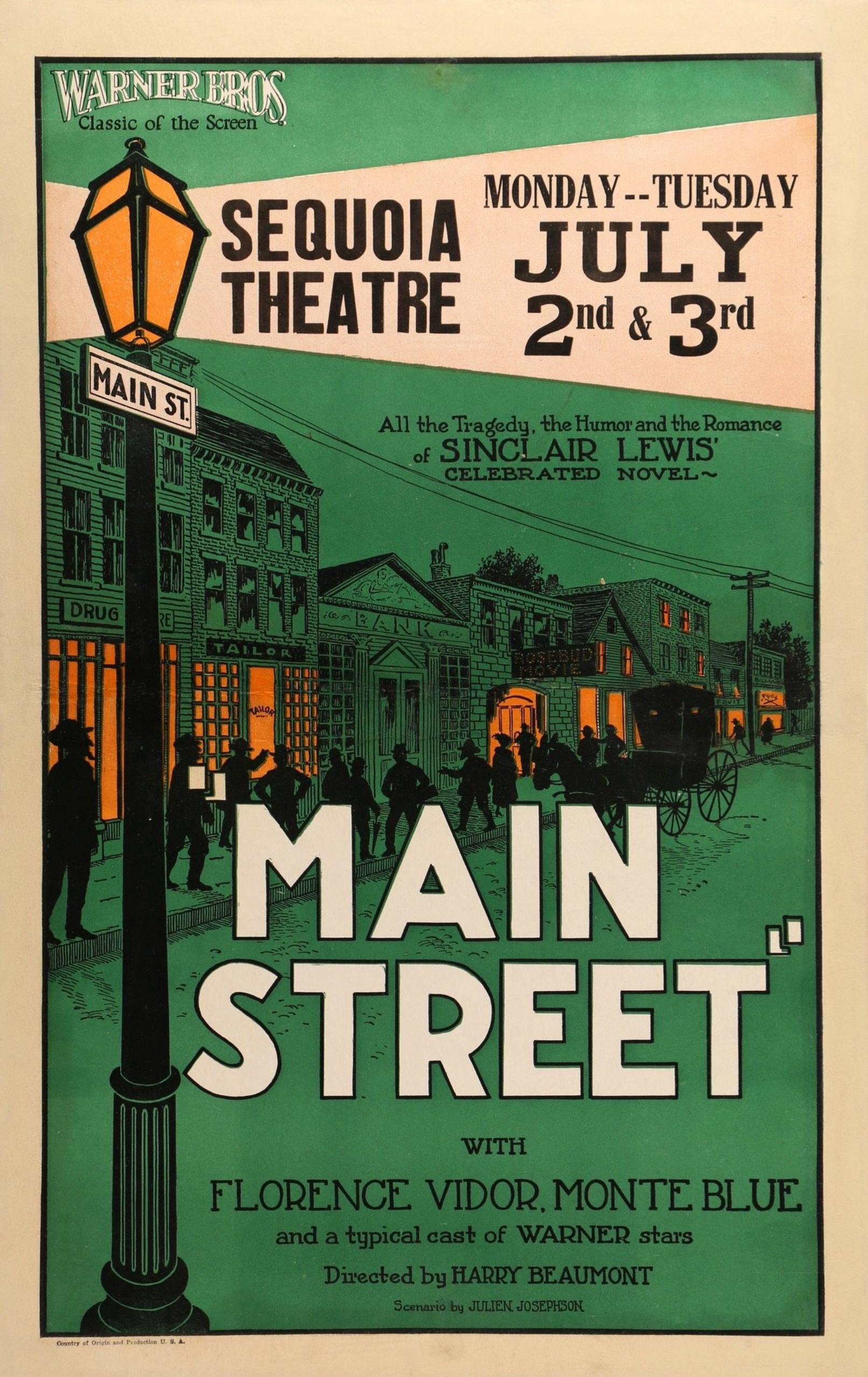 Monte Blue, Sinclair Lewis, and Florence Vidor in Main Street (1923)