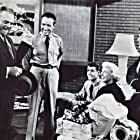 James Cagney, Doris Day, Ron Hagerthy, Ruth Roman, and Dick Wesson in Starlift (1951)