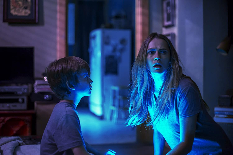 Teresa Palmer and Gabriel Bateman in Lights Out (2016)