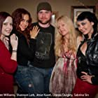 Jesse Kozel with Shannon Lark, Kaylee Williams, Linnea Quigley and Sabrina Sin on set of DISCIPLES