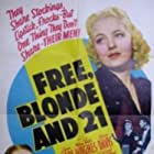Lynn Bari, Joan Davis, Mary Beth Hughes, and Henry Wilcoxon in Free, Blonde and 21 (1940)