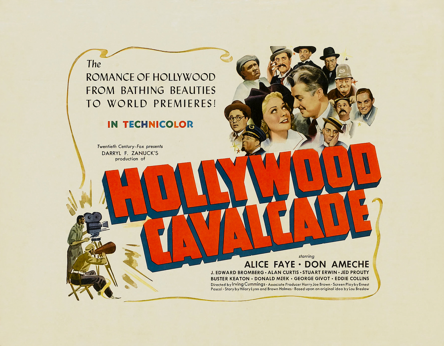 Buster Keaton, Don Ameche, Hank Mann, J. Edward Bromberg, Eddie Collins, Alan Curtis, Stuart Erwin, Alice Faye, James Finlayson, George Givot, Donald Meek, and Jed Prouty in Hollywood Cavalcade (1939)