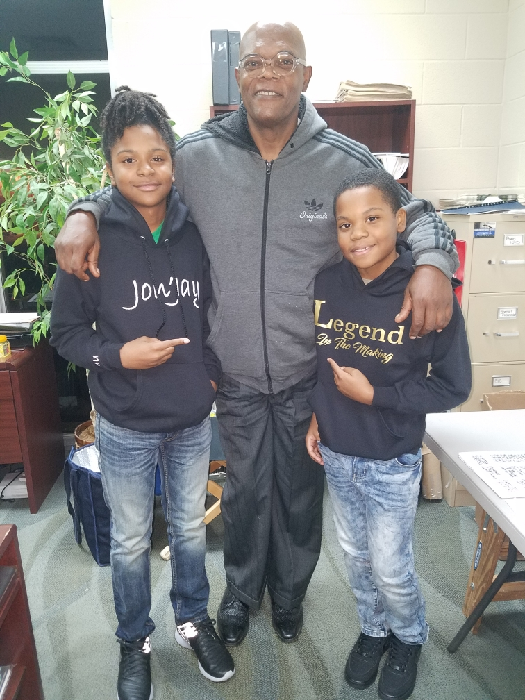 Jaylon on the set of The Banker with Samuel L. Jackson and Johnnie Gordon