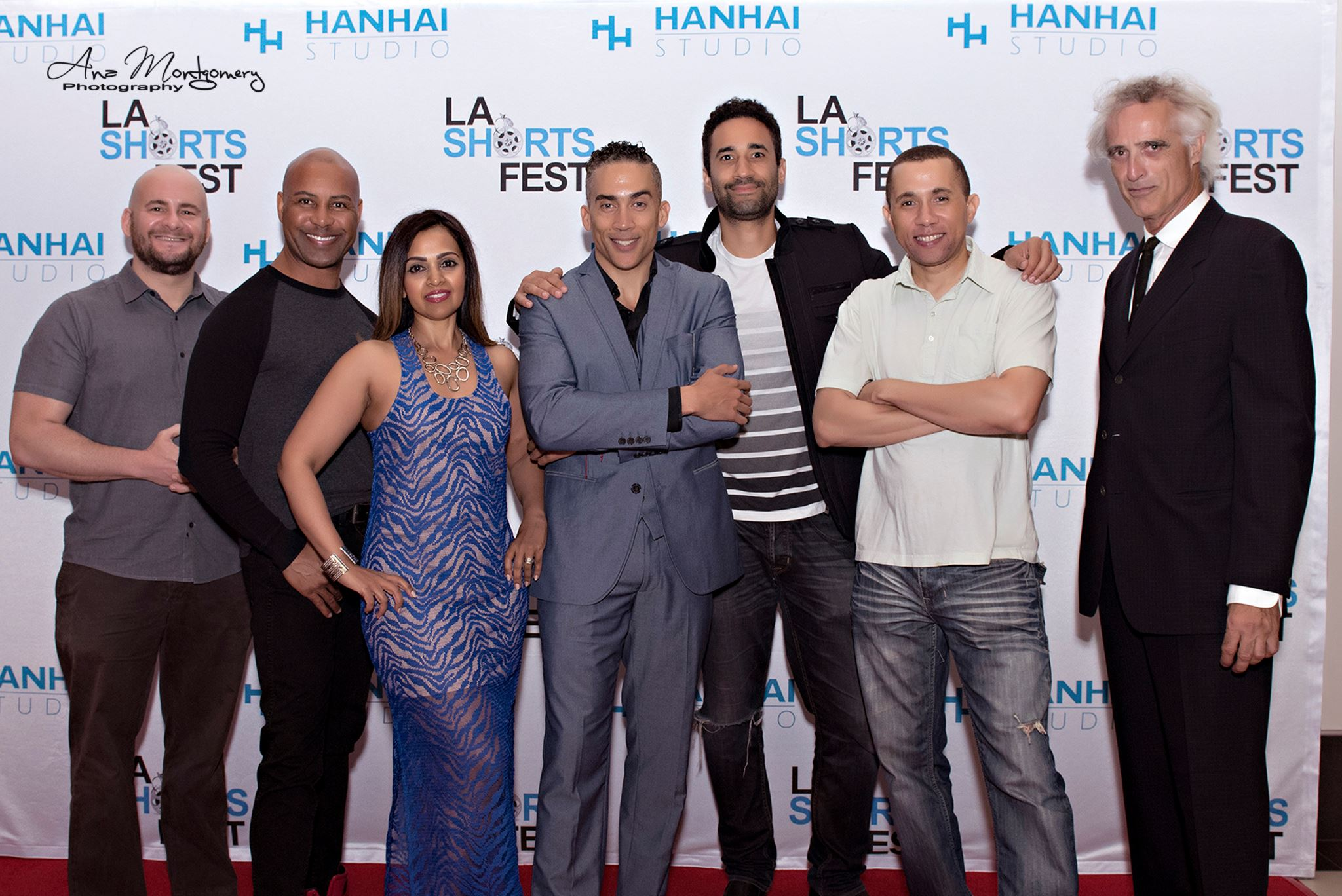 """Daniel Lawrence Abrams at the 2016 LA Shorts Fest (co-produced The Derrick  Brothers' film """"Architects of Crime""""). Also pictured the team: Hilliard Guess, Indra Bartona, William A. Derrick III, Ko Massiah, Christopher B. Derrick, Peter Lucas."""
