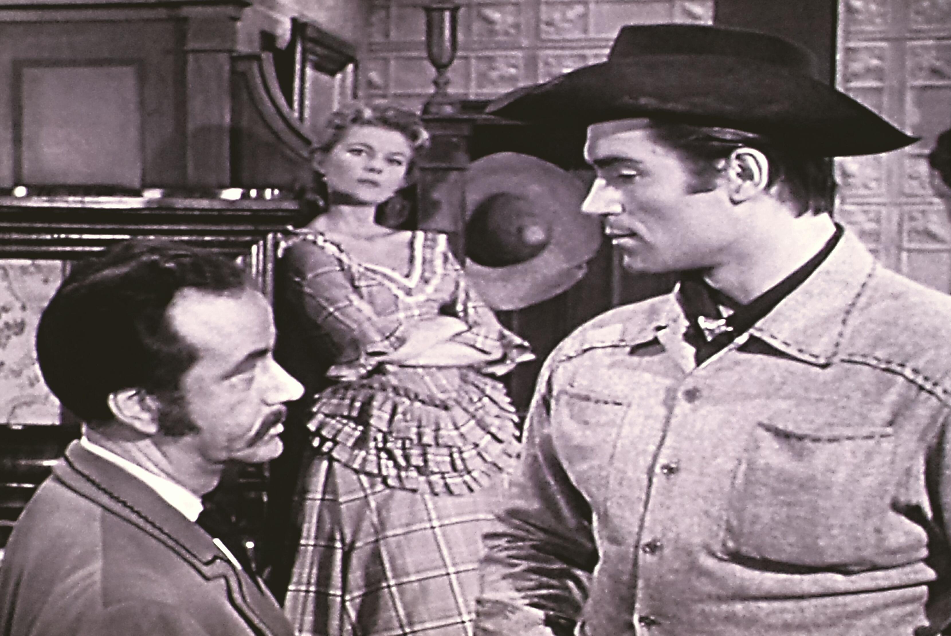 Peggie Castle, Edward Colmans, and Clint Walker in Cheyenne (1955)