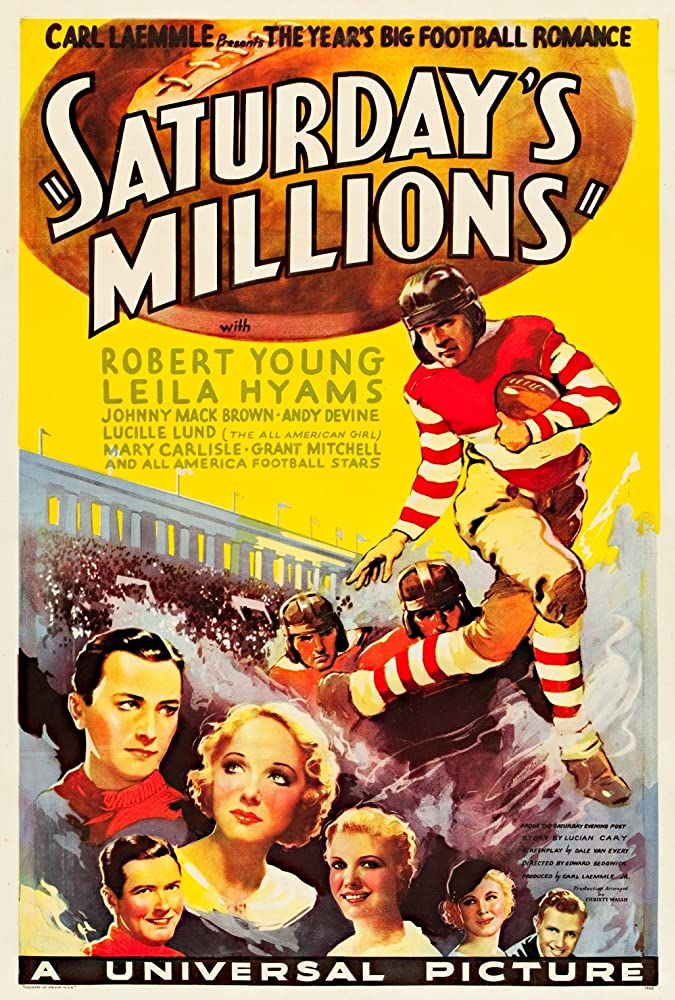 Robert Young, Johnny Mack Brown, Mary Carlisle, Andy Devine, Mary Doran, and Leila Hyams in Saturday's Millions (1933)
