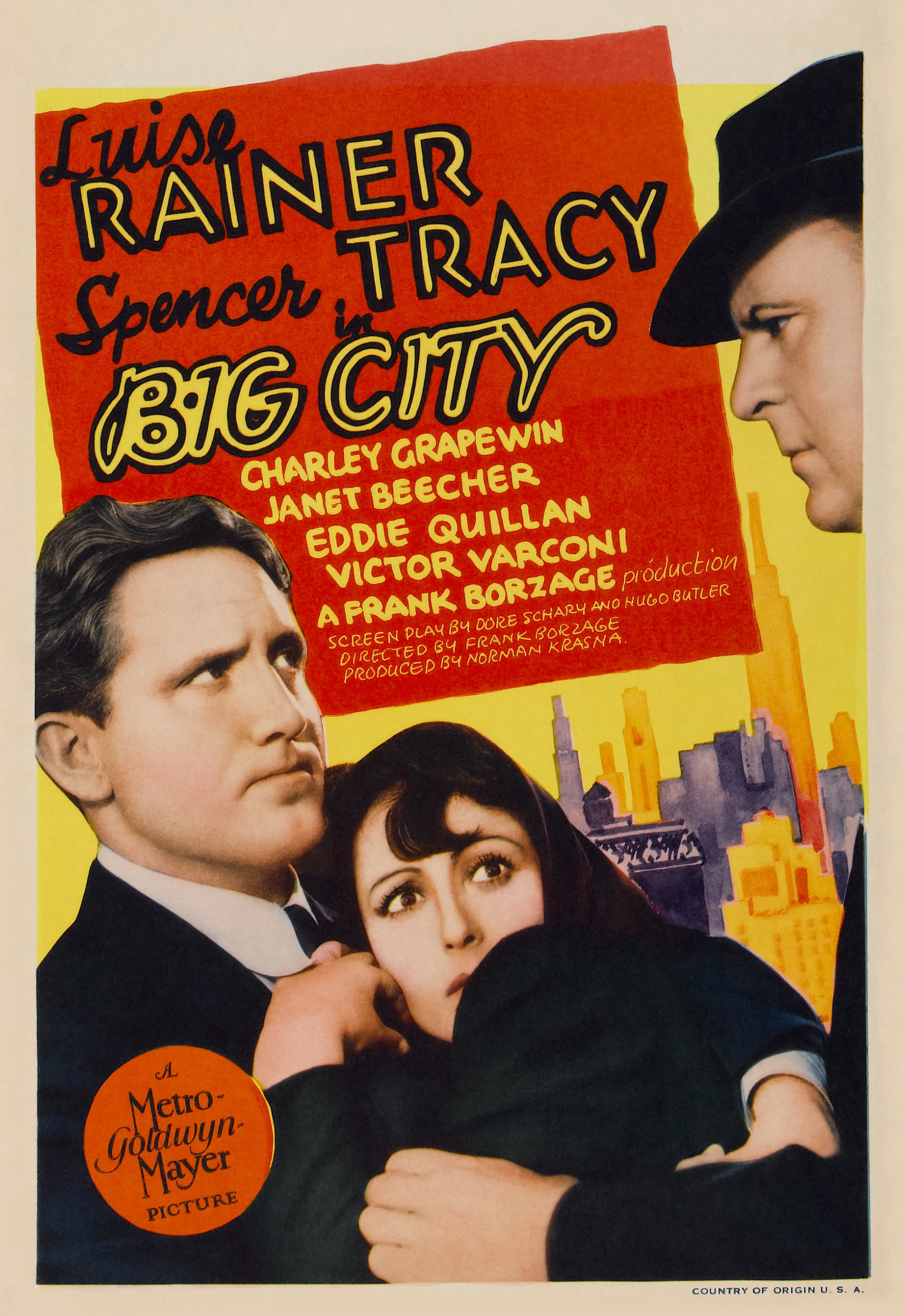 Spencer Tracy, Luise Rainer, and Victor Varconi in Big City (1937)