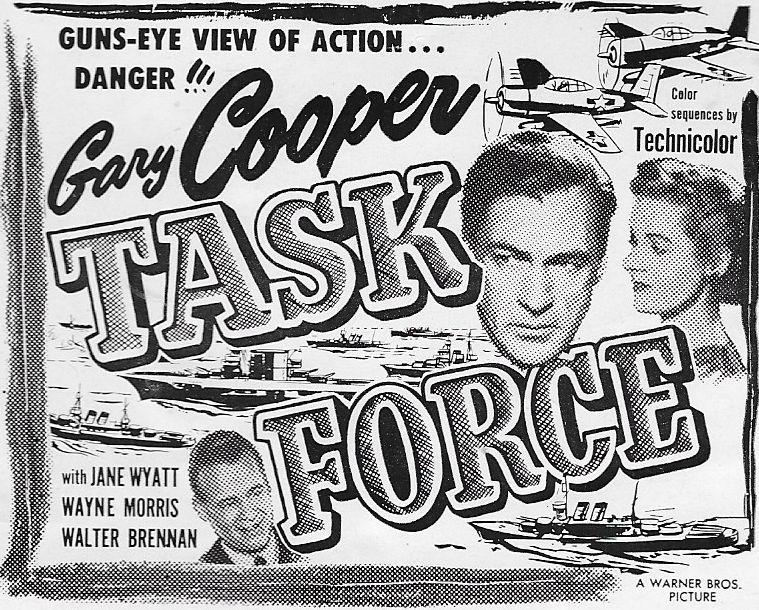 Gary Cooper, Wayne Morris, and Jane Wyatt in Task Force (1949)