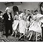 Moe Howard, Larry Fine, Dorothy Appleby, Dorothy DeHaven, Curly Howard, Marjorie Kane, Bob O'Connor, and Blanca Vischer in Cookoo Cavaliers (1940)