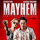 Mark Frost, Steven Brand, Caroline Chikezie, Kerry Fox, Joe Lynch, Samara Weaving, and Steven Yeun in Mayhem (2017)