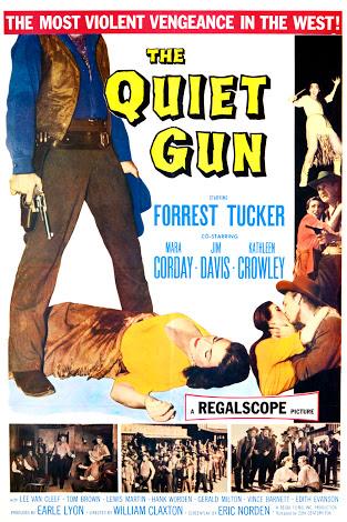 Mara Corday, Kathleen Crowley, Jim Davis, and Forrest Tucker in The Quiet Gun (1957)