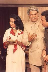 Rajesh Khanna, Ashok Kumar, Poonam Dhillon, and Shafi Inamdar in Avam (1987)