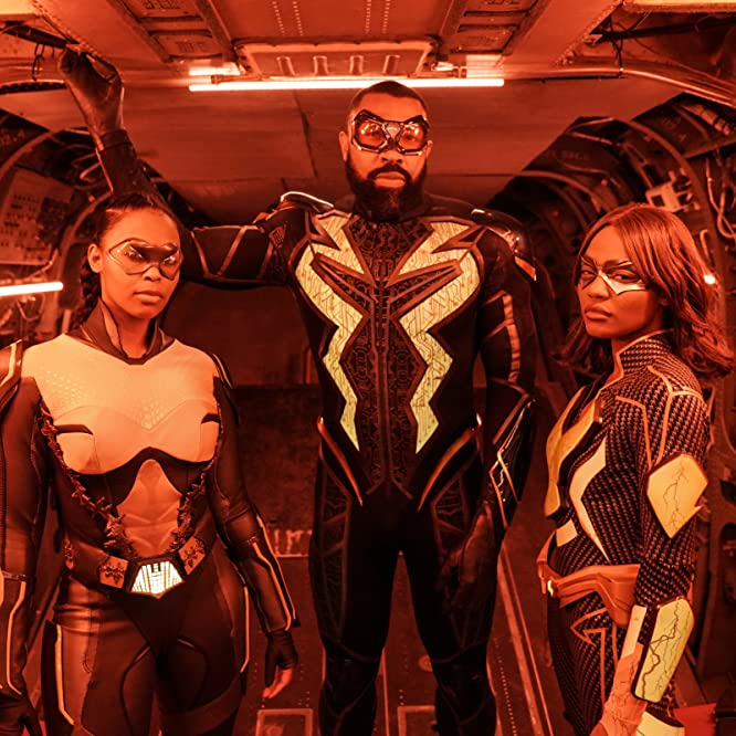 Cress Williams, China Anne McClain, and Nafessa Williams in Black Lightning (2017)