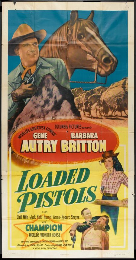 Gene Autry, Barbara Britton, Robert Shayne, and Champion in Loaded Pistols (1948)