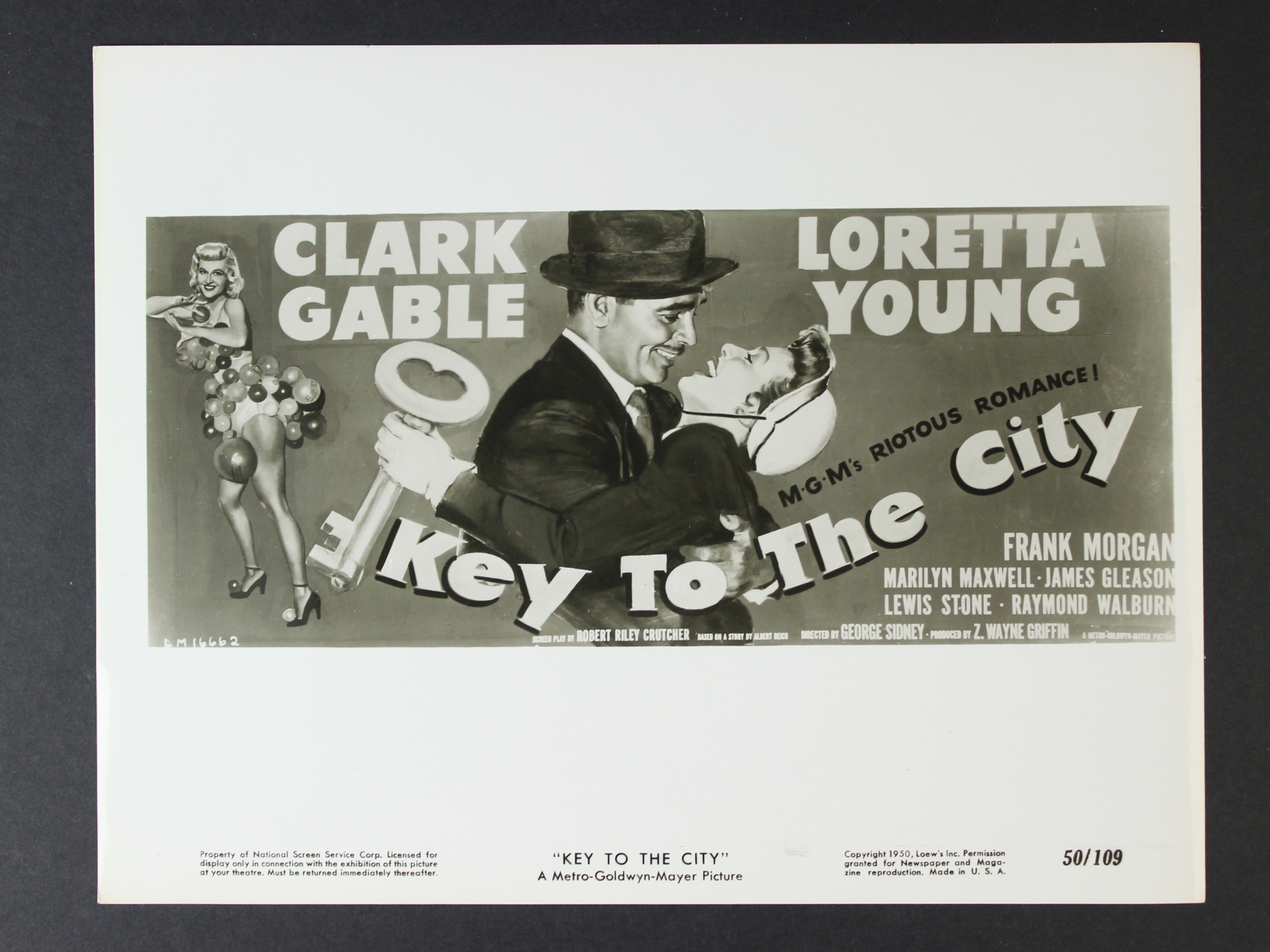 Clark Gable, Marilyn Maxwell, and Loretta Young in Key to the City (1950)