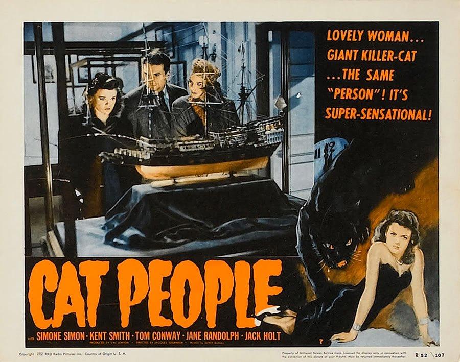 Jane Randolph, Simone Simon, and Kent Smith in Cat People (1942)