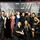 Dominique Davalos, Elizabeth Maxwell, Eric Cepeda, Sandra Steele, Don Daro, Kelsey Pribilski, Ammie Masterson, Lindsey Lemke, and Ezekiel Z. Swinford at an event for Virgin Cheerleaders in Chains (2018)