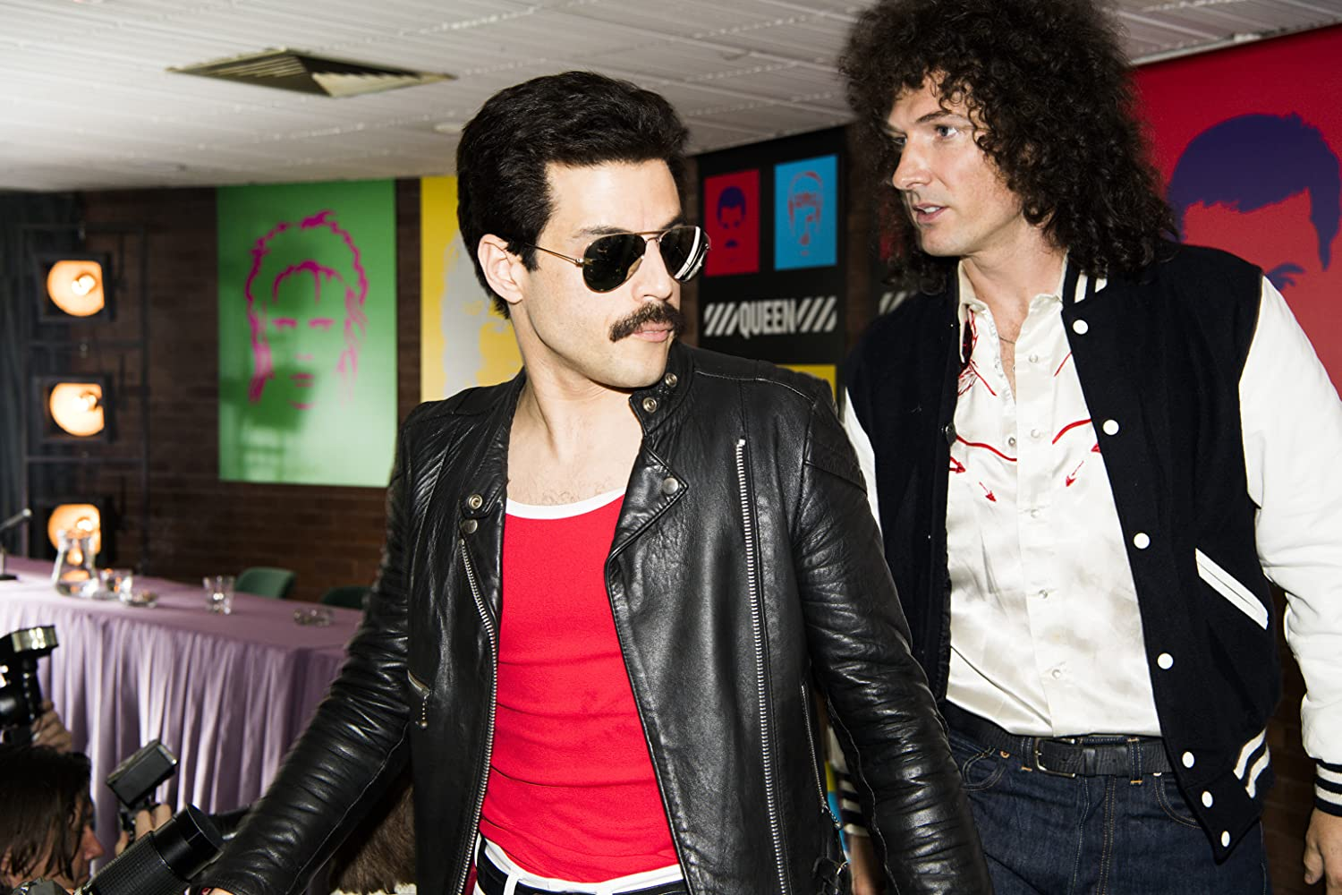 Rami Malek and Gwilym Lee in Bohemian Rhapsody (2018)