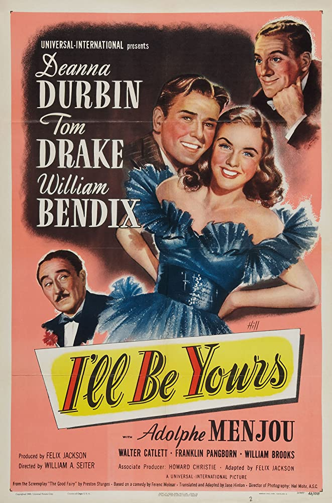 William Bendix, Deanna Durbin, Tom Drake, and Adolphe Menjou in I'll Be Yours (1947)