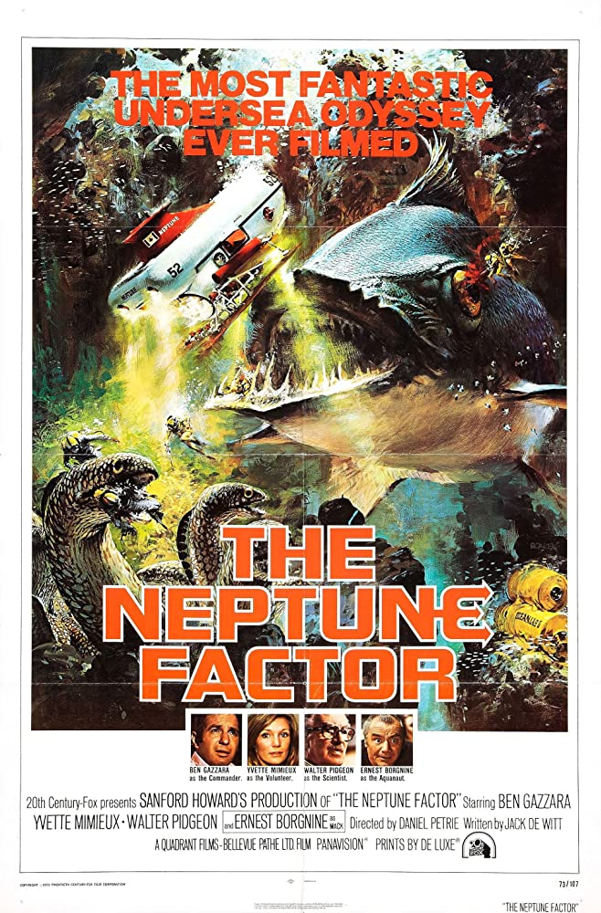 Ernest Borgnine, Ben Gazzara, Yvette Mimieux, and Walter Pidgeon in The Neptune Factor (1973)