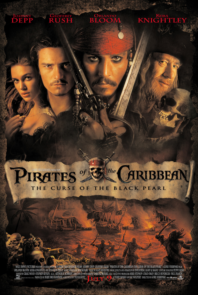 Johnny Depp, Geoffrey Rush, Orlando Bloom, and Keira Knightley in Pirates of the Caribbean: The Curse of the Black Pearl (2003)