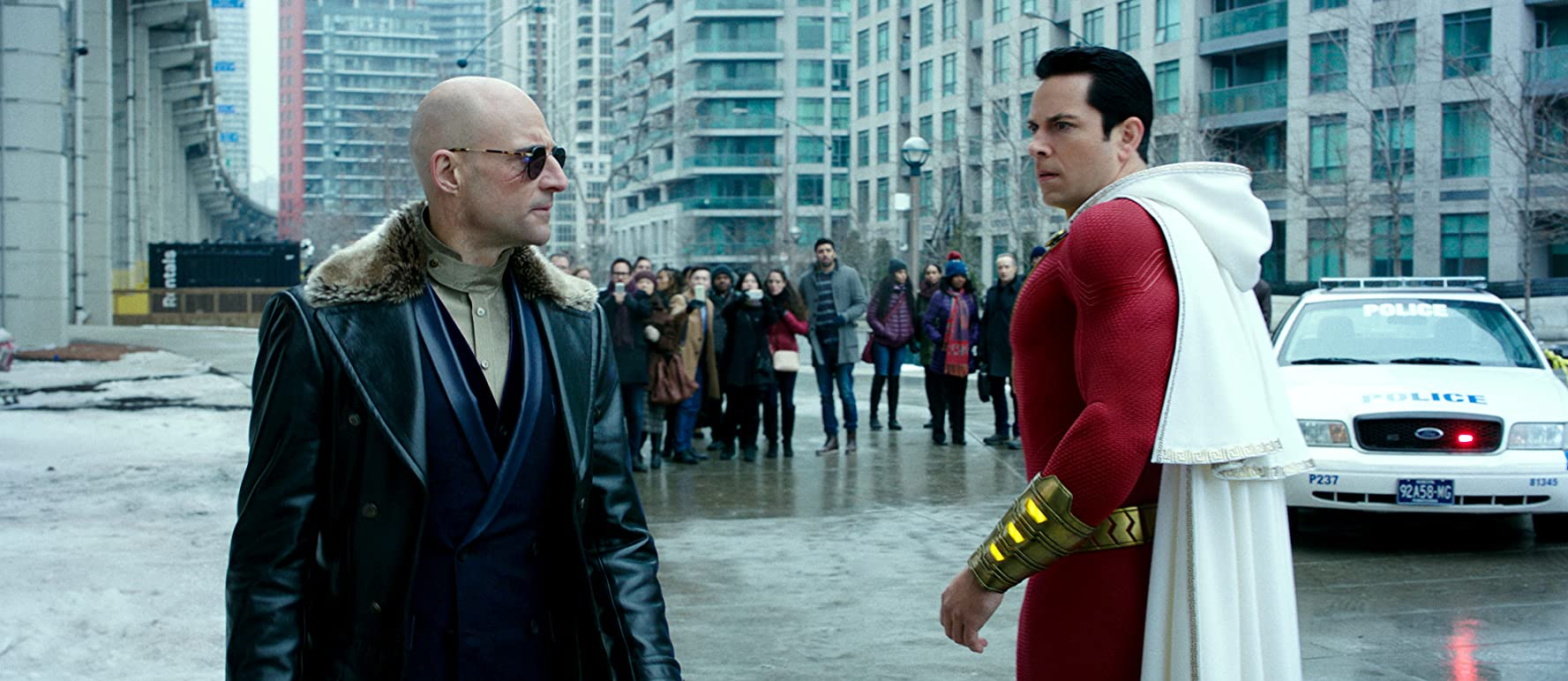 Mark Strong and Zachary Levi in Shazam! (2019)