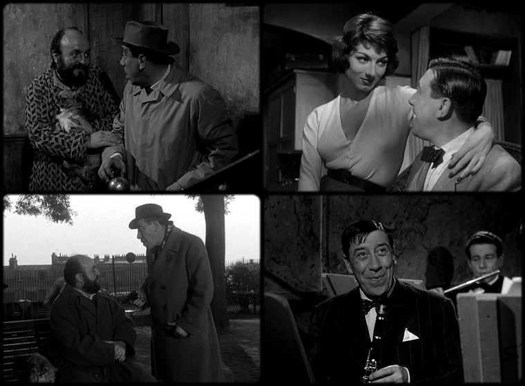 Bernard Blier, Fernandel, and Judith Magre in L'homme à l'imperméable (1957)