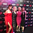 Barbara Crampton, Brea Grant, Elise Luthman, and Sophie Dalah at an event for Dead Night (2017)