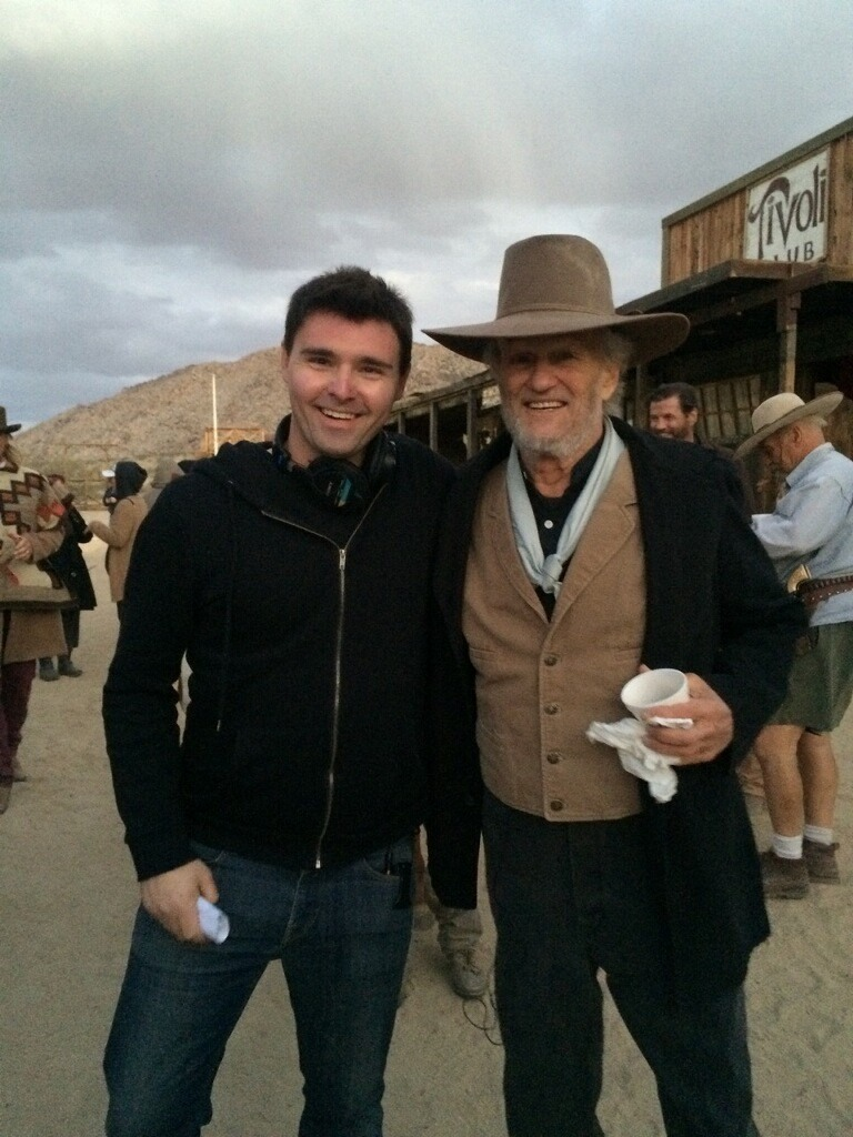 Timothy Woodward Jr and Kris Kristtoferson on the set of Traded