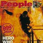 Sunday People magazine cover. Tom Delmar burns for BBC 999 propgram.