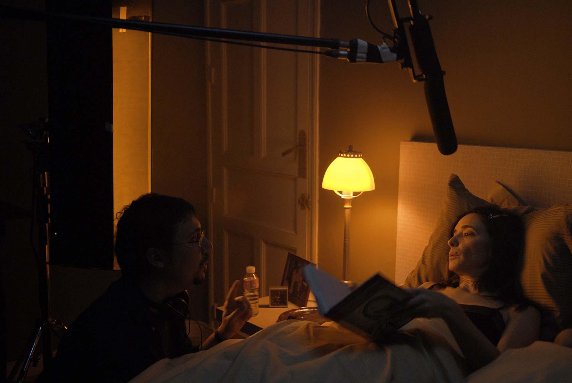 Elio Quiroga shooting NO-DO with Ana Torrent, 2007
