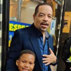 Still of Ja' Siah Young and Ice T while filming law and order SVU season 21 episode 5 midnight in Manhattan