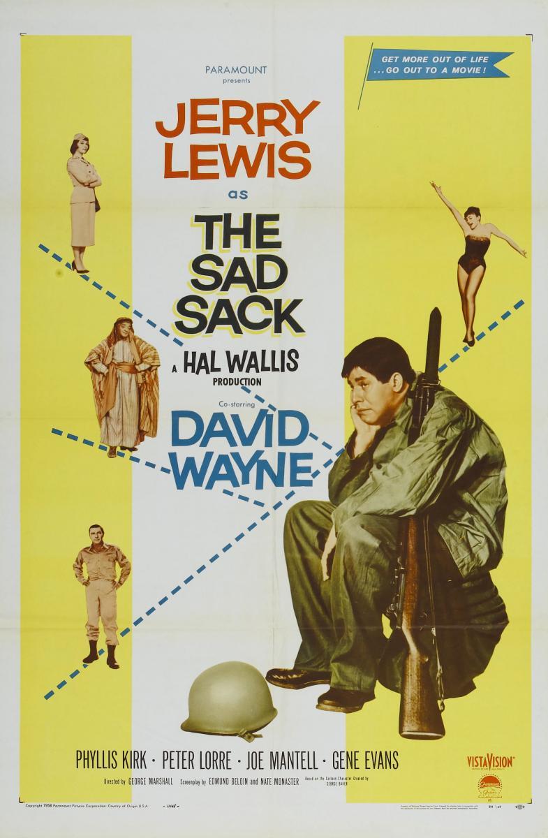 Peter Lorre, Jerry Lewis, Phyllis Kirk, Liliane Montevecchi, and David Wayne in The Sad Sack (1957)