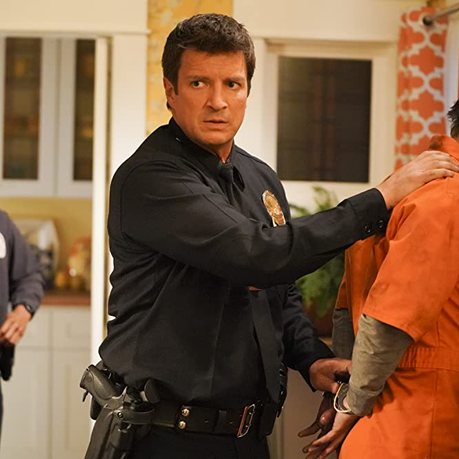 Nathan Fillion, Sean Maher, and Afton Williamson in The Rookie (2018)