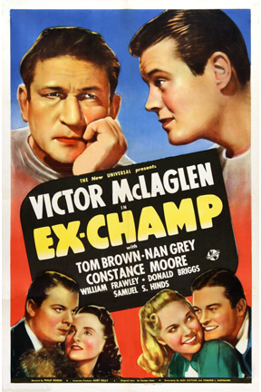 Tom Brown, William Frawley, Nan Grey, Victor McLaglen, and Constance Moore in Ex-Champ (1939)