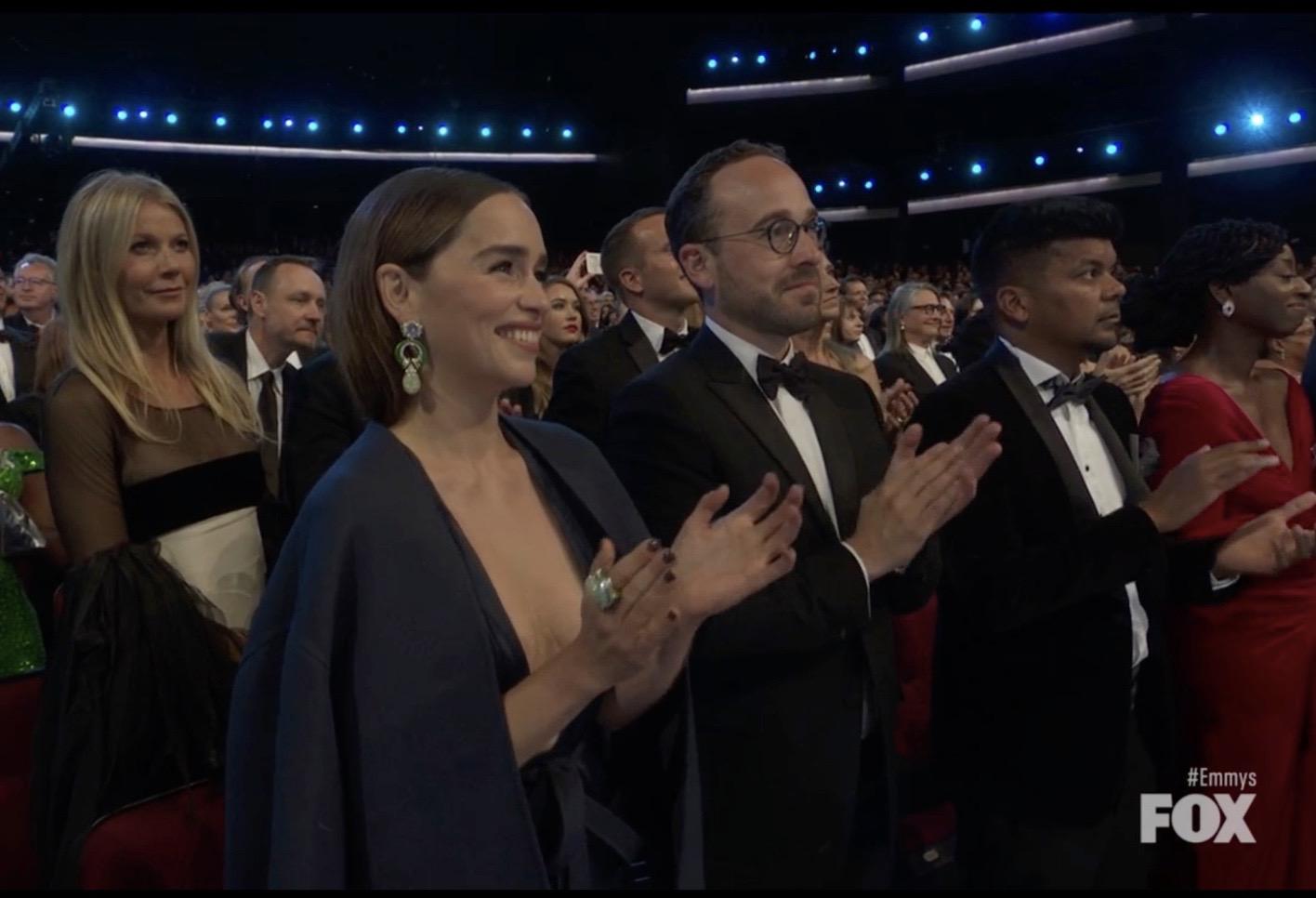 Gwyneth Paltrow, Pravin Shaw, and Emilia Clarke in The 71st Primetime Emmy Awards (2019)