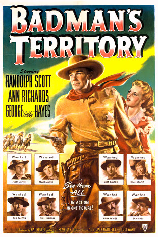 Randolph Scott, Steve Brodie, Richard Hale, John Halloran, William Moss, Nestor Paiva, Ann Richards, Lawrence Tierney, Tom Tyler, and Phil Warren in Badman's Territory (1946)