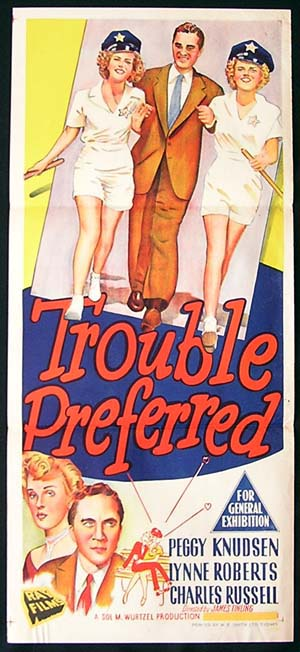 Peggy Knudsen, Lynne Roberts, and Charles Russell in Trouble Preferred (1948)